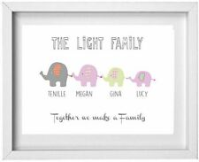 FAMILY NAME | Personalised Picture | Elephant Figures | FREE POST | (NP189)