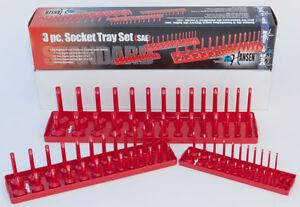 """Hansen global 3pc SAE Socket Tray Set 1/2"""" 1/4"""" 3/8"""" 9301"""