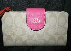 Coach  C4528 Signature Tech Phone Wallet Colorblock Confetti Pink Mango NWT $250