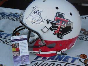 Kliff Kingsbury signed Texas Tech TTU Red Raiders full size FLAG helmet JSA COA