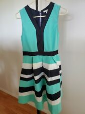 Modcloth Ya Los Angeles Colorblock Dress Size M or L Turquoise Navy Blue White