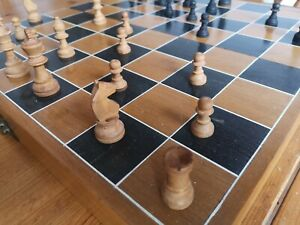 Wooden Vintage Folding Chess Set quality Box two partitions Full wooden pieces