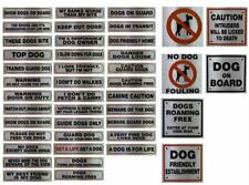 Metallic Silver Sticker Dog Beware Pet Warning Signs Messages Visitors House UK