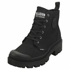 Palladium Pallabase Twill Womens Black Black Textile Casual Boots