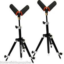 "2 x Carp Coarse Fishing Mini Tripod Rod Rests Adjustable + 2 3"" V Pole Roller"