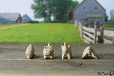 Set of 4 Hand Carved Little Wooden Animals Pig Elephant Turtle Dolphin Farm VAT Pack of 1