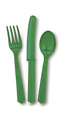 Plastic Cutlery - Emerald Green Assorted (8 each forks, knives and spoons)