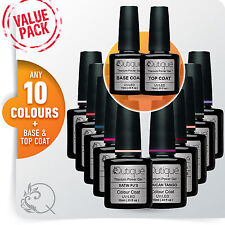 QUTIQUE Gel Nail Polish Colour VALUE Kit/Pack/Set -ANY 10 COLOURS Base/Top Coat