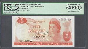 New Zealand 5 Dollars 1968-75 P165bs Prefix 070 Specimen Perforated Uncirculated