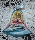 "New DeBrekht ANGEL BELL Scenic Glass Ornament Village CHURCH 4.25"""
