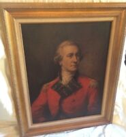 Vintage Portrait Print on Board British Officer Red Coat Gold Wood Frame  29x35