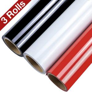 Bundle 3x1m PU Heat Transfer HTV Premium Vinyl Black White Red Matte T-shirt