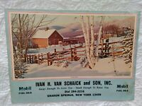 Vintage Advertising Mobile Fuel Oil Calendar Cover Winter Beauty Sharon Springs,