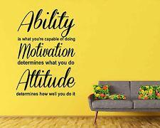 Ability Motivation Attitude Inspirational Wall Art Quote Vinyl Decal Mural Decor