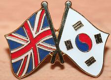 UK & SOUTH KOREA FRIENDSHIP Flag Metal Lapel Pin Badge Great Britain