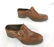 Merrell Buckle Clogs Mule Shoes Oak Brown Leather Slip On Backless Womens Sz 6.5