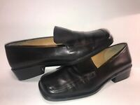 ENZO ANGIOLINI SZ 6 BLACK LEATHER SLIP ON WOMEN LOAFERS SHOES WS7-6-1