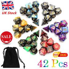 UK 42pcs/Set Polyhedral Dice Acrylic Heavy Metal Dice DND MTG D4-D20 Game + Bags
