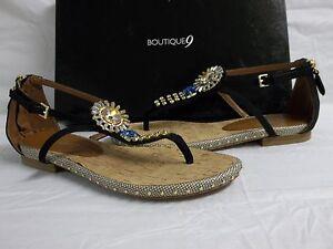 Boutique 9 Sz 7 M Mix It Up Black Nubuck Leather Strap Sandals New Womens Shoes