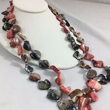 "Fashion Necklace 27""  Multi Color Stone Layer Costume Jewelry Mother Day Gift"