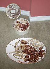 POTTERY BARN 12 PHEASANT SALAD DESSERT PLATES & 1 OVAL PLATTER SEPIA BROWN GOLD