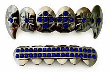 Hip Hop Gun Metal Mouth Teeth  Grillz Upper & Lower Set Blue Stone Cross Fangs