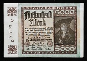 antique German 1922 5000 mark bank note D 512303 C, circulated