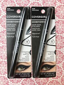 2 Covergirl Exhibitionist 24hr Kohl Eyeliner Waterproof 100 Black Cruelty Free