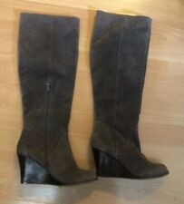 M&S Autograph Mink Brown Suede Leather Wedge Heel Boots, Size 4 - Lovely!