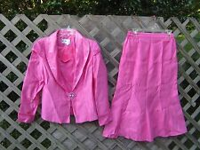 G.M.I. hot pink jewel(rhinestones) highlighted jacket LS skirt suit, Size 10