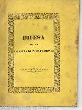 La Rosa DIFESA SU LA VALIDITA' DI UN MATRIMONIO Tip. Montalto - Caltagirone 1845