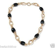 Technibond REAL Black Onyx Gemstone Chain Necklace 14K Yellow Gold Clad Silver