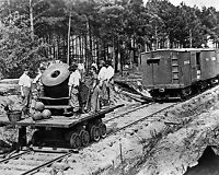 Civil War Photo of Soldiers with Mortar on small railroad car-Approx. 1864