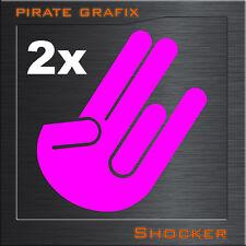 2 Stück 10x7 cm SHOCKER AUFKLEBER DECAL HAND THES HOCKER KULT TUNING WOW FINGER