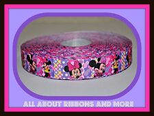 7/8 INCH MINNIE MOUSE PURPLE AND PINK DESIGN ON GROSGRAIN RIBBON- 1 YARD