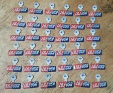 """VINTAGE /""""FLASHER/"""" BUTTONS SAYS LBJ FOR THE USA  2-D LOGO CHANGES WHEN MOVED"""
