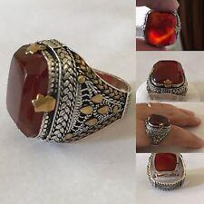Silver Yemeni dark red agate Men Ring, called in Arabic kabdi, عقيق كبدي يماني