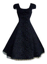 Alternative / 50's Vintage Black Leopard Flocked Party Prom Tea Dress New BNWT