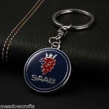 SAAB Key Ring NEW with Box - UK Seller - Silver Blue - Car Keyring