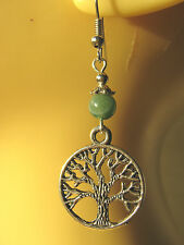 Tree of Life & Moss Agate Gemstone Bead Earrings Pagan Wicca Hedgewitch