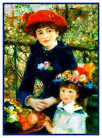 Renoir's 2 Sisters on  The Terrace Counted Cross Stitch Chart Pattern