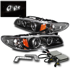1997-2003 PONTIAC GRAND PRIX BLACK HALO PROJECTOR HEADLIGHT+WHITE LED DRL+6K HID
