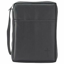 Black Outer Pocket Leather Like Vinyl Bible Cover Case with Handle Large