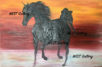 """Arabian Horse Oil Painting Canvas 29"""" by 39"""" made by West Swatty"""