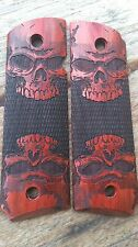 1911 Grips Skulls Checkered Red Heart Fits Colt Kimber Rock Island