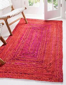 Rug 100% Natural Cotton Handmade Reversible Red Carpet Rustic Modern Look Rugs