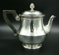 19th Century French Christofle Silver Plate Teapot Tea Pot with Ebony Handle
