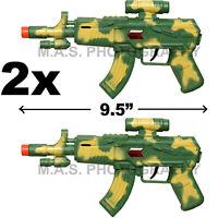 SET OF 2 - MACHINE GUN TOY POLICE ASSAULT PISTOL M-16 RIFLE TOY SOUND