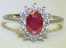 BEAUTIFUL 18CT WHITE GOLD RUBY  0.35CT DIAMOND KATE CLUSTER RING