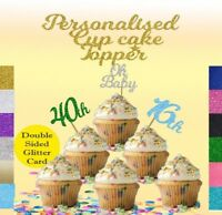 Cupcake toppers x12 any word any age 16,18,21,30,40, oh baby 16th,18th,21st,